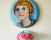 """Vintage Portrait Painting Woman Young Girl 12"""" Round Canvas"""