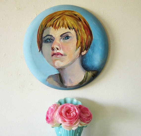 "Vintage Portrait Painting Woman Young Girl 12"" Round Canvas"