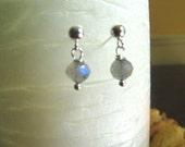 Labradorite Earrings, Small Earrings, Sterling Silver Post - Stud Dangle, or Clip-On Style