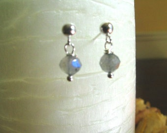 Labradorite Earrings, Small Earrings, Sterling Silver Post - Stud Dangle, or Clip-On Style