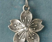 Cherry Blossom Sterling Silver Pendant Charm