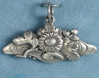 Imperial Chrysanthemum Floating on Water Sterling Silver Pendant