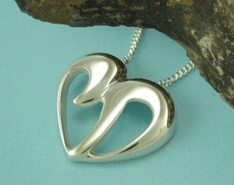 Large CHAI HEART Necklace, Sterling Silver Jewish Chai, Cut-Out Heart Chai, Yonatan Collection