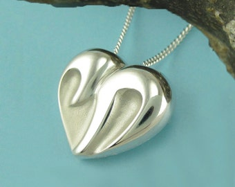 CHAI HEART necklace, Jewish jewelry, large silver chai with chain - Yonatan Collection