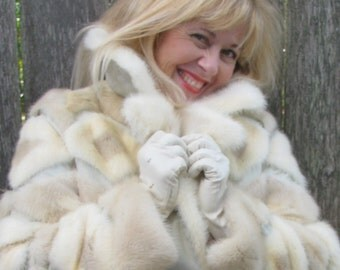 Fur Coat Women's Vintage 1970's  Disco Queen  Fashion,  Snow Bunny Style retro 70's design Ski Fashionista  Pleather