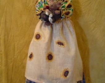 Tuxedo Cat Bag holder Sunflowers Doll Primitive ePATTERN