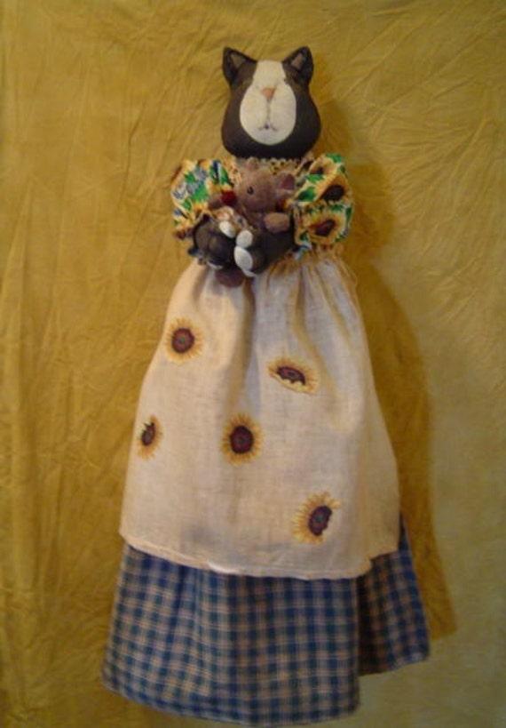 Primitive ePATTERN Tuxedo Cat Bagholder Sunflowers Doll Original by Raggedyrhondas FAAP team