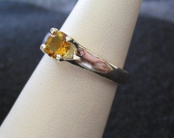 Dark Round Citrine and Sterling Silver Ring