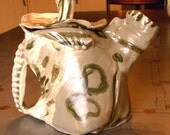ceramic teapot tea pots handmade ceramic sculpture white grey green contemporary funky teapot
