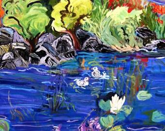 fine art print landscape seascape Expressionist Fauve Colors blue green yellow trees lake ducks home decor wall decor