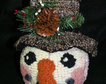 Primitive Rug Hooked Snowman Candy Holder E Pattern