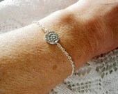 SALE-Silver Hammered Disc-Silver Chain Bracelet