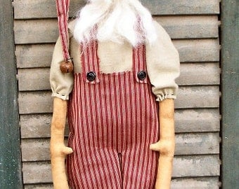 Santee Klaus EPATTERN - primitive country christmas santa claus cloth doll craft digital download sewing pattern - PDF - 1.99
