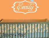 Personalized Name with Bird Wall Decal Sticker - Vinyl Shabby Chic Scallop Frame Wall Decor Name Sticker - CM106B