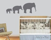 Elephant Wall Decal Family of Elephants in a Row Vinyl Sticker Set - Safari Jungle - Vinyl Wall Art Room Decor - CA108