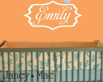Personalized Name with Bird Wall Decal Sticker - Vinyl Shabby Chic Scallop Frame Wall Decor Name Sticker - CM106