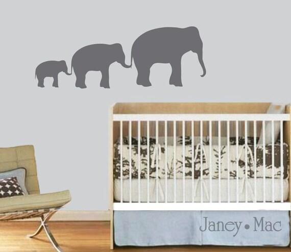 Elephant Wall Decal Family of Elephants in a Row Vinyl Sticker Set - Safari Jungle - Vinyl Wall Art Room Decor - CA108