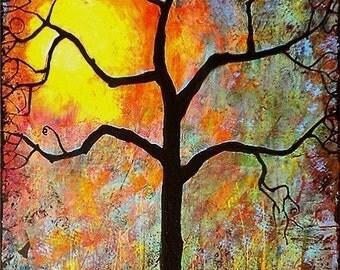 Tree Art Sunrise Sunset Giclee Print Always Sunny