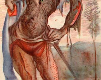 1945 Salvador Dali Benvenuto Cellini Wounded Warrior Vintage Print
