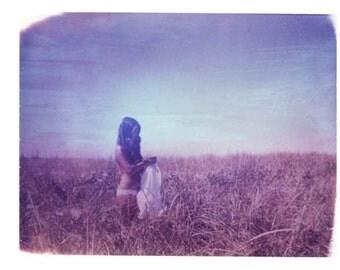 Nude Girl in Field Polaroid Purple Summer 8x10 Print