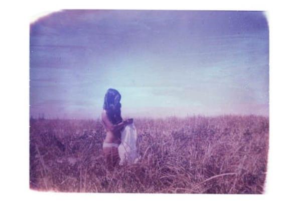 Nude in Field Polaroid Purple Vintage Art 8x10 Print