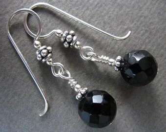 Gemstone Earrings ~ Black Onyx & Sterling Silver Handmade Earrings ~ Silver Earrings