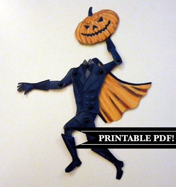 Legend of Sleepy Hollow, DIY Printable PDF Headless Horseman Paper Puppet Set  for Halloween Party