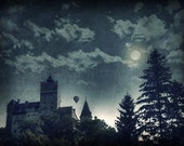 Dracula castle, Enchanted forest, Moon, Full moon forest, Dark Gothic Wall Decor, Haunted castle, Mysterious, Blue home decor