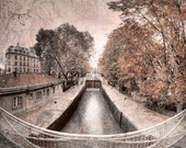 Paris photography, Canal st Martin, Amélie from Montmartre, Paris decor, brown decor, Autumn fall photography, Autumn decor