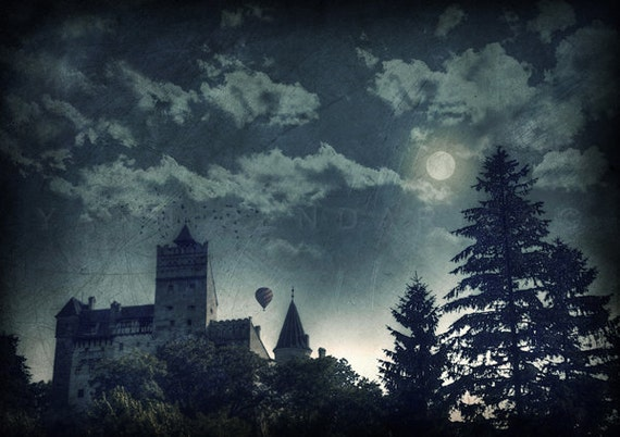 Moonlight,Enchanted Forest,Halloween,Moon,Full Moon Forest,Haunted Castle,Dracula castle, Dracula's Castle,castle print,gothic home decor