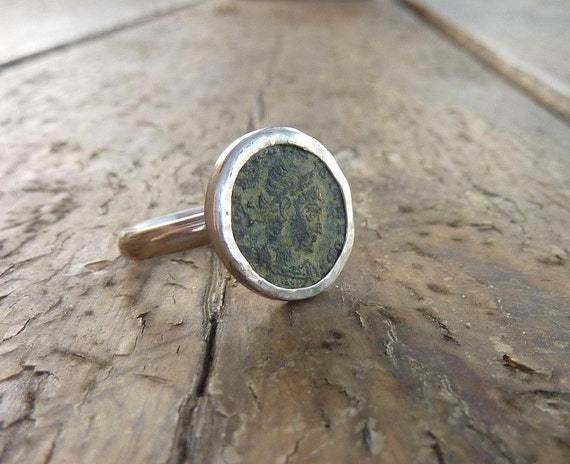 Ancient Roman coin ring, Statement ring, sterling silver ring, Unique authentic antique roman coin ring