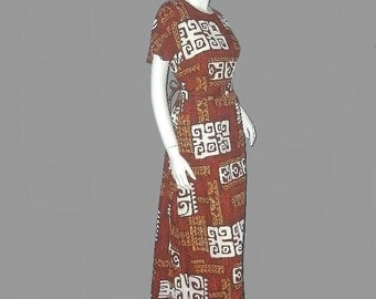 Vintage 60's TAPA TIKI Print Hawaiian Maxi Dress S 36