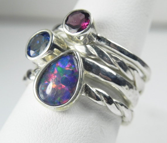 Opal, Rhodolite Garnet, Blue Topaz Stack Ring - Genuine AAA Opal, Rhodolite Garnet, Mystic Blue Topaz - Sterling Silver Gemstone Stack Ring