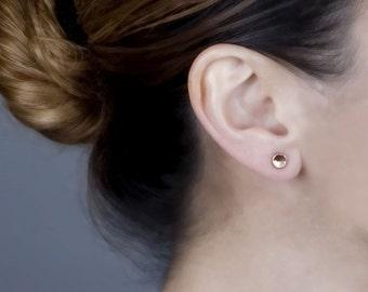 Rose Gold Studs Earrings, Rose Gold Post Earrings, Pebble Stud Earrings, Teen Girls Earrings, Round Studs, Small Earrings, Pink Gold Studs