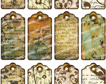 DISTRESSED TAGS - Digital Printable Collage Sheet - Vintage Inspired Hang Tags, Printable Gift Tags, Wish Tree Tags, Digital Download