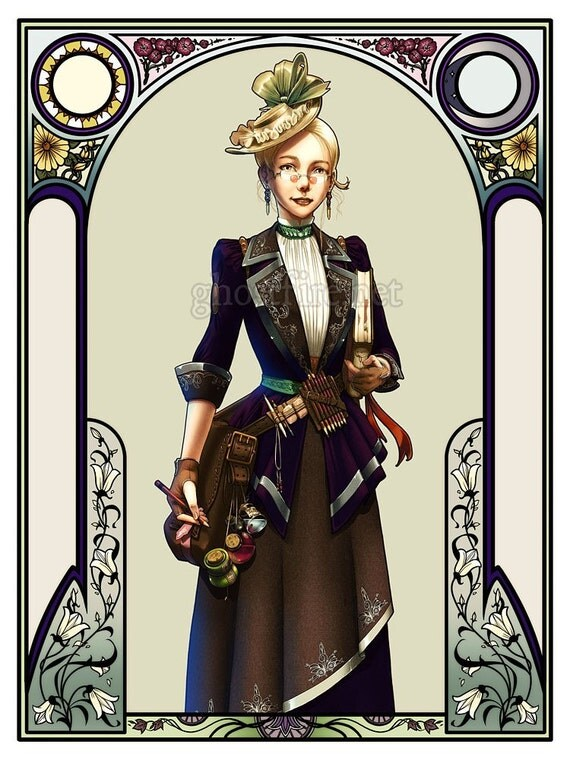 """Neo-Victorian, Art-Nouveau-framed Art Print - Multiple Sizes Available - """"The Steampunk Artist"""""""
