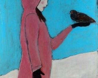 Digital Print - Girl & Bird Figure Painting - Pink Jacket - Winter Snow - Blackbird Art Prints