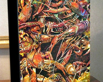 """Crawfish Art """"Angry Crawfish"""" Gallery Wrap Canvas Print Signed and Numbered"""