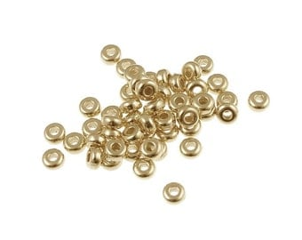 50 Gold Beads - 3mm Disk Beads by TierraCast - Washer Beads - Small Bright Gold Spacer Heishi Beads Tierra Cast  (PS266)