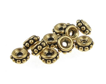 50 Gold Beads 6mm Gold Spacers TierraCast 6mm Beaded Heishi Antique Gold BULK BAG (PS370)