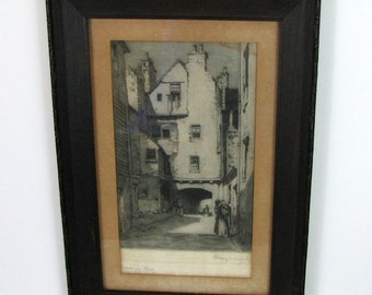 1907 Edinburgh Fine Etching by Albany Howarth, Signed Bakehouse Close
