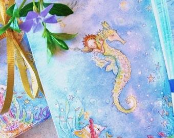 Mermaid Card Set .  Set of 5 blank notecards