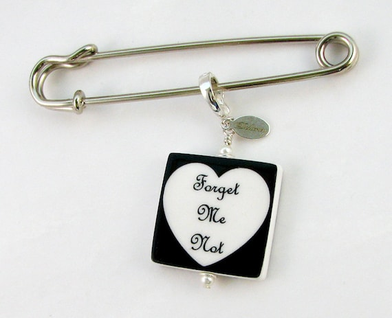 Boutonniere / Corsage Photo Charm, Medium Memorial Charm and Pin - BP2f