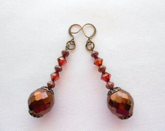 Bronze Red Crystal Earrings, Swarovski Crystals, Metallic Bead, Antiqued Caps, Dark Bronze,  Beaded,  Ladies Earrings, Exquisite, Dangles