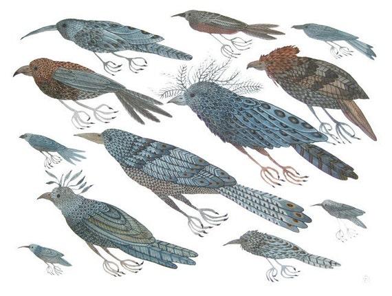 migration no. 2 bird art large original watercolor painting