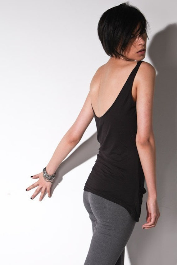 Low back le deux pocket top, black m lg