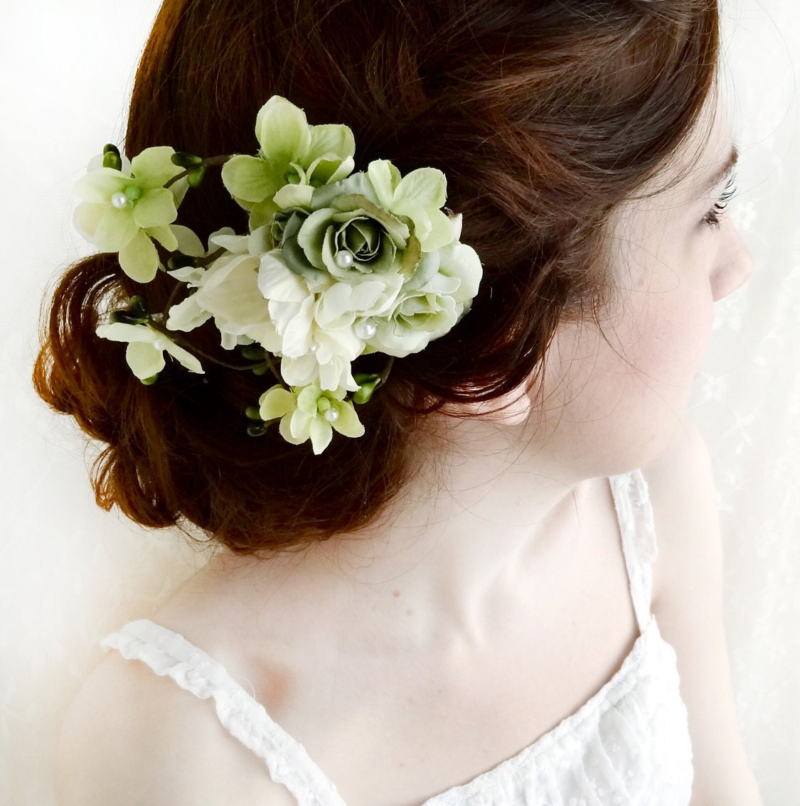 Green Floral Hair Clip Sage Wedding Bridal