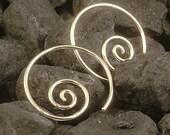 Silver Hoop Earrings /  Simple Sterling Silver Hoops  / Swirl Curl Coil Simple Minimalist Tribal Goddess MetalRocks