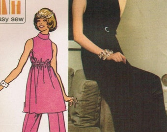 1970s  Simplicity 5298 UNCUT Vintage Sewing Pattern Misses Dress, Tunic, Pants Size 12 Bust 34