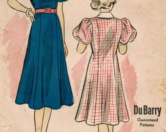 1930s Du Barry 1549B Vintage Sewing Pattern Junior Princess Dress Size 14 Bust 32
